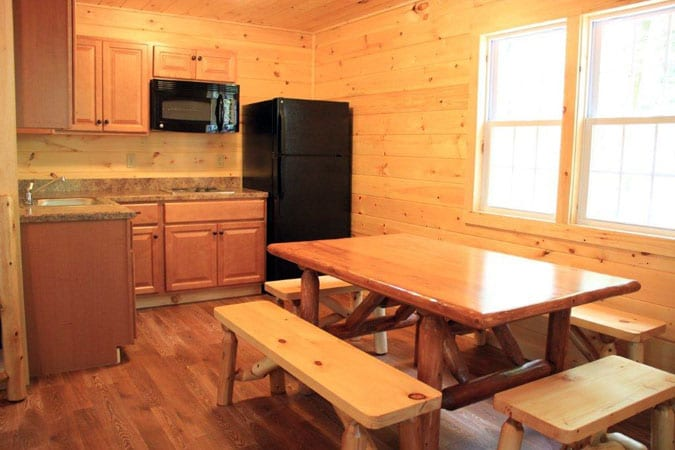 Kitchenette and Dining Room Space in Cabin Rental
