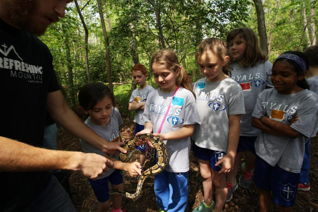 Nature Studies_School Group with Snake