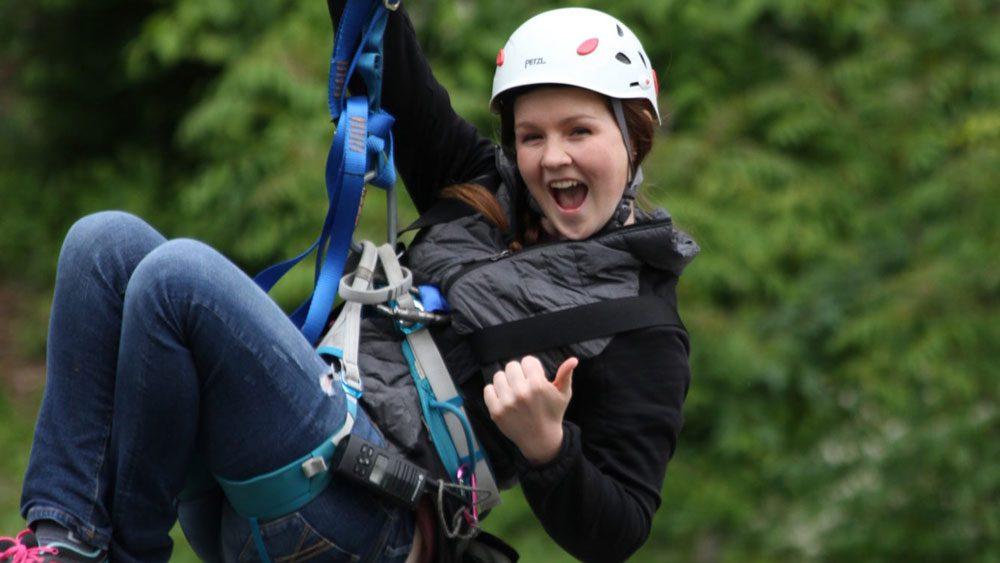Smiling Girl Ziplining at Refreshing Mountain in Lancaster PA