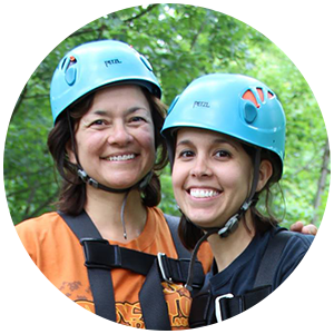 Mom and Daughter Refreshing Mountain Zipline