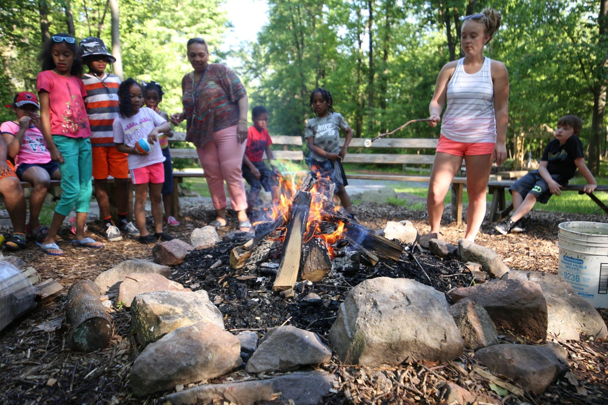 Campfire family retreat fun around the campfire