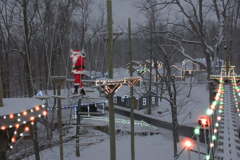 Ziplines, Obstacle Course, and Christmas Lights