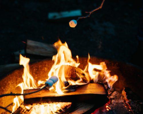 Campfire outdoors at Lancaster, PA Retreat